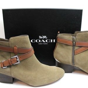 Coach Pauline Suede Slate Bootie Olive Green Boots